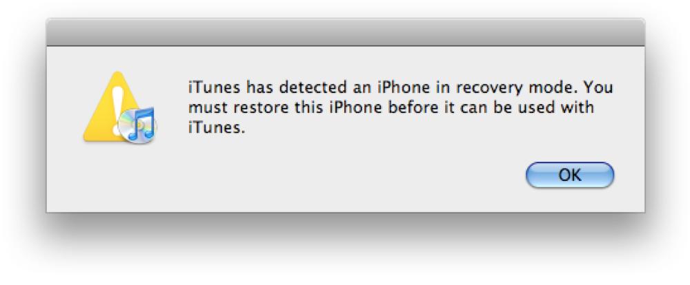Bảng thông báo iPhone vào chế độ Recovery.